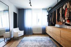 Ankleide, begehbarer Kleiderschrank, Eiche, Stahl