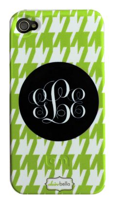 Clairebella Personalized Cell Phone Case - Houndstooth Green ($45.00)