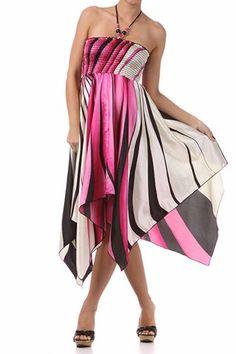 Lisa's Fine Lingerie: Beach Wear: Swirl Design Satin Feel Beaded Halter Smocked Bodice Handkerchief Hem Dress