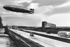 Zeppelins LZ  Hindenburg flying across the Reichsautobahn at Frankfurter Luftschiffhafen in the s  x-post from rAutobahn #infrastructure #zeppelins #hindenburg #flying #reichsautobahn #frankfurter #luftschiffhafen #rautobahn #photography