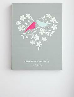 Oh, how lovely!  gifts.redenvelope.com/gifts/personalized-love-birds-wall-art-30063874