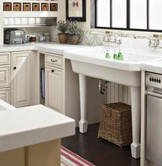 I really like this vintage look sink, and I especially like the idea of the two faucets!