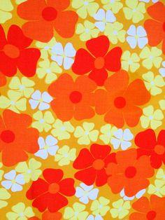 60s retro mod floral vintage fabric. Scandinavian design, made in Sweden.