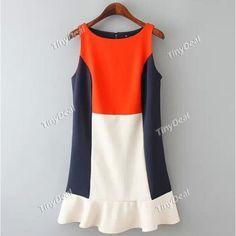 Patchwork Elegant Crew Neck Sleeveless Dresses for Women Girl Ladies (S-L) DCD-366945