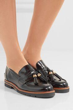 Stuart Weitzman - Manila Glossed-leather Loafers - Black - IT40.5