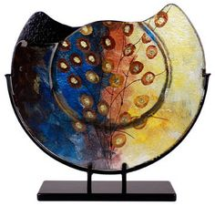 "Hand Painted Glass Vase,16"" Round 2-sided Glass Vase"