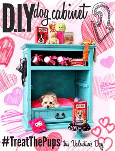 #TreatThePups this Valentine's Day with a D.I.Y Dog Cabinet- Turn a second-hand dresser into a pet bed and treat station with a few coats of paint and some Milk-Bone jars! A side table turned upside down or an oversized drawer with a large floor pillow will also double as a shabby chic dog bed when painted! Spread the love this Valentine's Day and find more inspiration with hashtag #TreatThePups and Big Heart Pet treats! #Ad #CollectiveBias