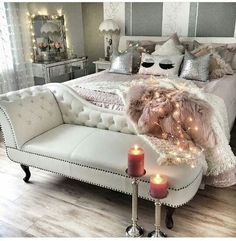 45 beautiful glam room ideas for your home inspirations - Glam Room - Beauty Room Glam Bedroom, Home Bedroom, Bedroom Furniture, Bedroom Ideas, Chaise Lounge Bedroom, Glam Bedding, Chaise Chair, Bedroom Pictures, Pretty Bedroom