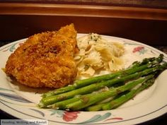 Crispy Chicken with Creamy Italian Sauce, Farfalle, and Asparagus. Adapted from a recipe I found right here on Pinterest.