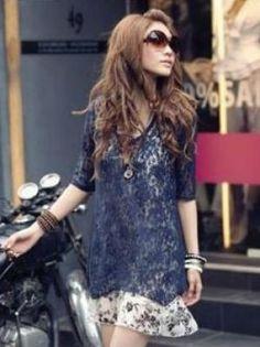 Hot Sale Asymmetrical Tailoring Lace Floral Chiffon Two Pieces Dress