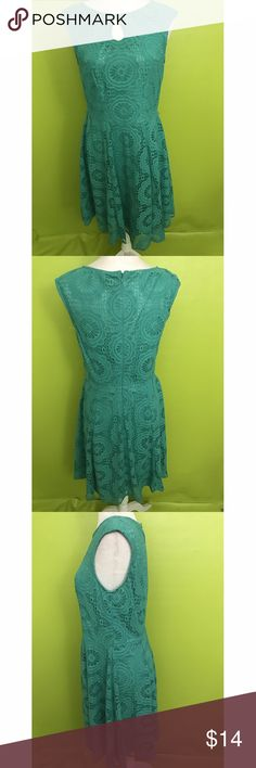 """London Style Collection Eyelet Turquoise Dress 8 B1549  Bust - 34"""" Waist - 30"""" Length - 37""""  Cap Sleeve, Boat Neck, Peep Hole, Zippered Back, Floral Eyelet, Turquoise Green Lined Dress   Free shipping on orders over $75 London Style Collection Dresses"""