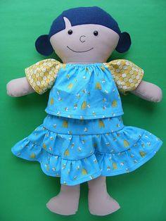 Dress Up Bunch doll pattern - beekeeper dress and felt flowers