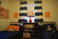 Trapped In North Jersey: navy striped curtains