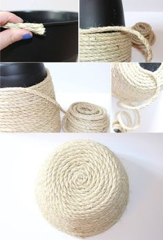 Homemade pots Original ideas to customize pots. - Pots decorated with rope - Rope Crafts, Diy Home Crafts, Easy Home Decor, House Plants Decor, Diy Gift Box, Rental Decorating, Backyard For Kids, Diy Décoration, Mason Jar Diy