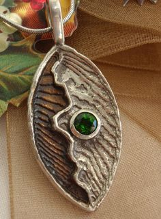 Chrome Diopside Necklace Green Gemstone Sterling Silver Cuttlebone Cast Hand Made Artisan Made by cutterstone on Etsy