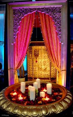 Fun Diwali Party Ideas - 10 Fun Diwali Party Ideas at candles with floating few lights! Fun Diwali Party Ideas at candles with floating few lights! Moroccan Party, Indian Party, Moroccan Decor, Indian Theme, Mehendi Night, Henna Night, Mehndi Decor, Henna Mehndi, Desi Wedding
