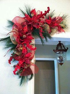 Feels like Christmas! Pair of Red Christmas Swags for Door Frames, Mirrors, Mantels and More. Red and Gold Christmas Decor Gold Christmas Decorations, Christmas Swags, Christmas Arrangements, Noel Christmas, Green Christmas, Holiday Wreaths, Christmas Projects, All Things Christmas, Rustic Christmas