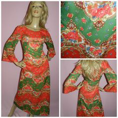 Vintage 60s 70s Red/Gold/Green BAROQUE WING slvd maxi slit dress 10 1960s 1970s Psychedelic Bohemian Evening Christmas Ornate Unique Mod by HoneychildLoves on Etsy