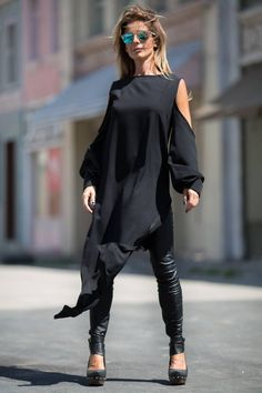 Asymmetrical Tunic Dress, Cyberpunk Clothing, Avant Garde Dress, Gothic Clothing, Plus Size Clothing Black Tunic Dress, Blue Jean Dress, Plus Size Black Dresses, Plus Size Outfits, Trendy Outfits, Black Dresses For Women, Girl Outfits, Fashion Outfits, Fashion Clothes
