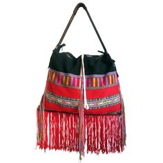 The Krui bag is definitely a statement piece! The bag is made from the bold handmade fabric of a hill tribe shirt and is accompanied by a leather strap and zip enclosure. Creative Inspiration, Bucket Bag, Bright, Colorful, Shoulder Bag, Fashion Outfits, Jewellery, Zip, Store
