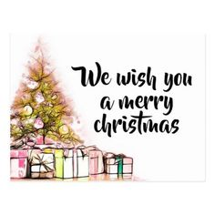 Christmas Tree Present Merry Christmas Wishes Postcard - drawing sketch design graphic draw personalize