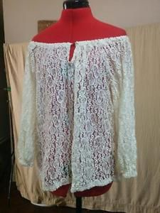 """Sheer Lace Peasant Blouse Off Shoulder Raglan Sleeves Jones New York Size PL """