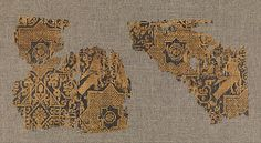 Textile with Pattern of Birds and Stars Object Name: Fragment Date: 11th–12th century Geography: Iran Medium: Silk; samite Dimensions: Textile: H. 5 in. (12.7 cm) W. 5 1/4 in. (13.3 cm) Mount: H. 7 3/4 in. (19.7 cm) W. 12 3/4 in. (32.4 cm) D. 7/8 in. (2.2 cm) Accession Number: 46.156.11a The Metropolitan Museum of Art