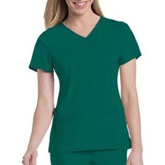 Urbane by Landau Women's Sophie Crossover Scrub Tunic Top, Green
