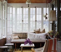 Gallery of beautiful sunroom ideas decor . A sunroom addition to your home is similar to a mix of a backyard patio and living room. Small Sunroom, Sunroom Office, Rustic Sunroom, Rustic Cottage, Cottage Style, Sunroom Kitchen, Cottage Porch, Small Condo, Kitchen Windows