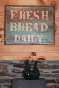 Fresh Bread Daily Rustic Kitchen Sign by savagegallery on Etsy, $125.00