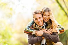 Young couple outdoors. stock photo