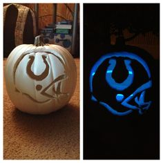 Colts Pumpkin all u do is get a white pumpkin then carve it out and put a blue glow stick in it so neat