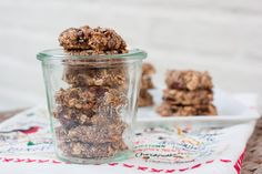 Chia Oatmeal Breakfast Cookies - chia seeds, almond milk, bananas, oats, shredded coconut, dates, dark chocolate, almond butter, cinnamon