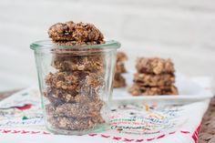 Chia Oatmeal Breakfast Cookies - chia seeds, almond milk, bananas, oats, shredded coconut, dates, dark chocolate, almond butter, cinnamon