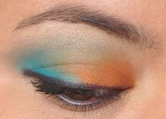 Orange and blue eyeshadow.