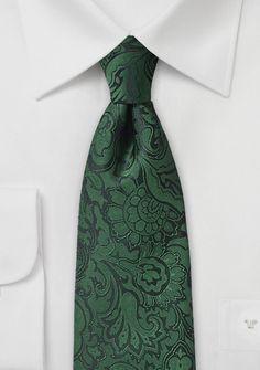 Modische Businesskrawatte im Paisley-Design tannengrün