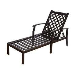 Garden treasures davenport black steel chaise lounge chair for Allen roth steel patio chaise lounge
