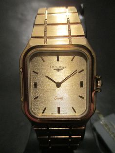 GR6 Old Stock Rare Vintage Swiss Longines St. Steel Band Gold Square Dress Watch 252285136659