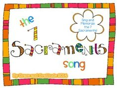 """To the tune of """"1 Little, 2 Little, 3 Little Indians""""...this song (and motions) is an easy way to help your students memorize the 7 Sacraments! I hope you find this to be helpful!"""
