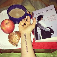 Fashion motivational Tattoo with quote that woman and girl Want! For book lover and dreamer!