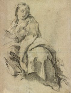 Giovanni Battista Piazzetta | 1682-1754 | Study of a Seated Woman (the Virgin?) | The Morgan Library & Museum