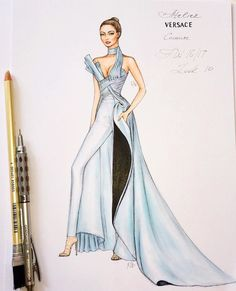 Gorgeous wearing Atelier Versace chic jumpsuit F/W at the Fashion Awards London… Dress Design Sketches, Fashion Design Sketchbook, Fashion Design Drawings, Fashion Sketches, Set Fashion, Versace Fashion, Fashion Art, Fashion Outfits, Fashion Ideas