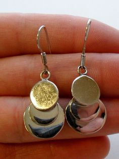 Sterling Silver Drop or Dangle Earrings Layered Circle by onetime, $10.25
