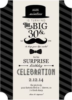 Trendy birthday party ideas for men dirty 30 21 ideas 30th Birthday Ideas For Men Surprise, 30th Birthday Party Themes, Husband 30th Birthday, Surprise Birthday Invitations, 30th Party, Man Birthday, Husband Surprise, Happy Birthday, Party Ideas