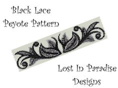 Peyote Bracelet Pattern - Black Lace - Peyote Stitch Pattern (Buy any 2 and get one Free). $6.50, via Etsy.