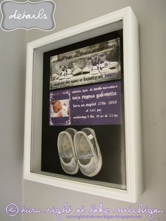 tova's birth announcement & first pair of shoes outside her bedroom door.
