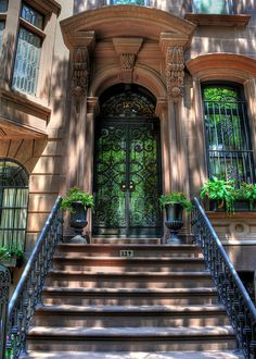 New York porch, art print - green door w wrought iron | Better link: http://fineartamerica.com/featured/new-york-porch-kelly-wade.html
