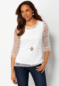 Circle Crochet Blouse - All StylesChristopher & Banks