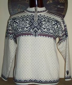 Dale of Norway mens sweater size Large L Team Norge snowflake 1/4 zip