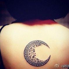 Amazing Feminine Moon Tattoo On Upper Back